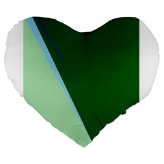 Green Design Large 19  Premium Flano Heart Shape Cushions by Valentinaart