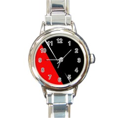 Black And Red Design Round Italian Charm Watch by Valentinaart