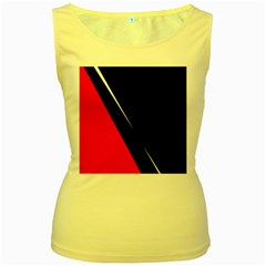 Black And Red Design Women s Yellow Tank Top by Valentinaart