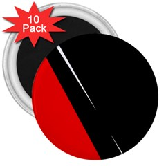 Black And Red Design 3  Magnets (10 Pack)