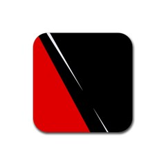 Black And Red Design Rubber Coaster (square)  by Valentinaart