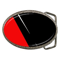 Black And Red Design Belt Buckles by Valentinaart