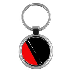 Black And Red Design Key Chains (round)  by Valentinaart