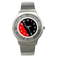Black And Red Design Stainless Steel Watch by Valentinaart