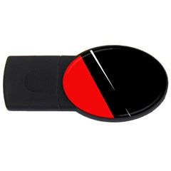 Black And Red Design Usb Flash Drive Oval (4 Gb)  by Valentinaart
