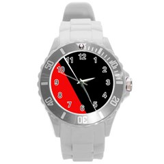 Black And Red Design Round Plastic Sport Watch (l) by Valentinaart