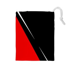 Black And Red Design Drawstring Pouches (large)  by Valentinaart