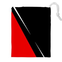 Black And Red Design Drawstring Pouches (xxl) by Valentinaart