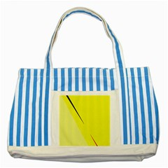 Yellow Design Striped Blue Tote Bag by Valentinaart