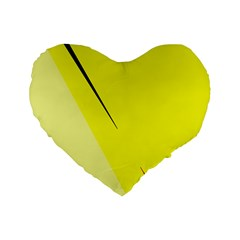 Yellow Design Standard 16  Premium Flano Heart Shape Cushions by Valentinaart