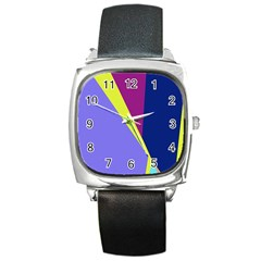 Geometrical Abstraction Square Metal Watch by Valentinaart