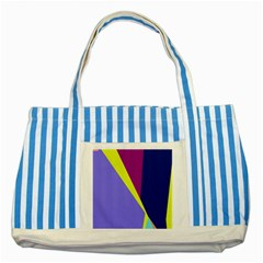 Geometrical Abstraction Striped Blue Tote Bag by Valentinaart