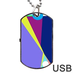 Geometrical Abstraction Dog Tag Usb Flash (two Sides)  by Valentinaart