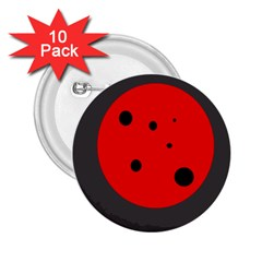 Red Circle 2 25  Buttons (10 Pack)  by Valentinaart