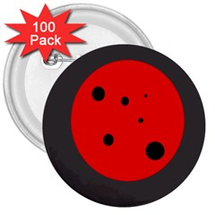 Red Circle 3  Buttons (100 Pack)  by Valentinaart