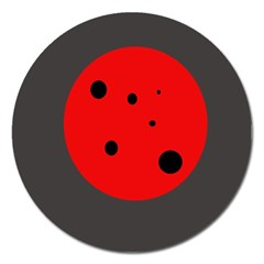 Red Circle Magnet 5  (round) by Valentinaart