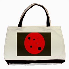 Red Circle Basic Tote Bag (two Sides) by Valentinaart