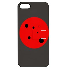 Red Circle Apple Iphone 5 Hardshell Case With Stand by Valentinaart