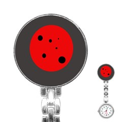 Red Circle Stainless Steel Nurses Watch by Valentinaart
