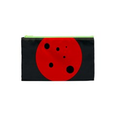 Red Circle Cosmetic Bag (xs) by Valentinaart