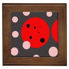 Red And Pink Dots Framed Tiles by Valentinaart