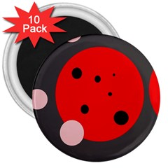 Red And Pink Dots 3  Magnets (10 Pack)  by Valentinaart