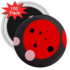 Red And Pink Dots 3  Magnets (100 Pack) by Valentinaart