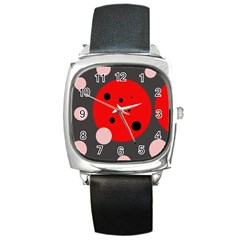 Red And Pink Dots Square Metal Watch by Valentinaart