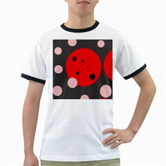 Red And Pink Dots Ringer T-shirts by Valentinaart