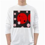 Red and pink dots White Long Sleeve T-Shirts Front