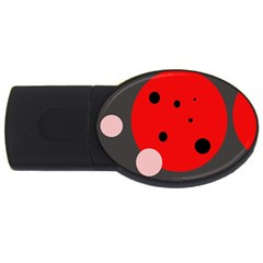 Red And Pink Dots Usb Flash Drive Oval (4 Gb)  by Valentinaart