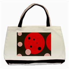 Red And Pink Dots Basic Tote Bag by Valentinaart