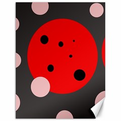 Red And Pink Dots Canvas 12  X 16   by Valentinaart