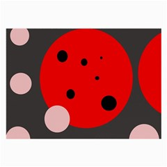 Red And Pink Dots Large Glasses Cloth (2 Side) by Valentinaart