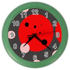 Red And Pink Dots Color Wall Clocks by Valentinaart