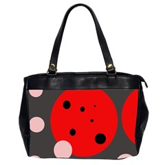 Red And Pink Dots Office Handbags (2 Sides)  by Valentinaart