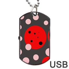 Red And Pink Dots Dog Tag Usb Flash (one Side) by Valentinaart