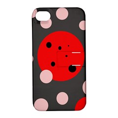 Red And Pink Dots Apple Iphone 4/4s Hardshell Case With Stand by Valentinaart