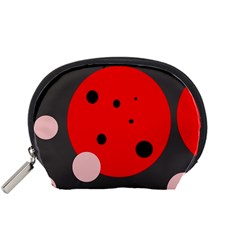 Red And Pink Dots Accessory Pouches (small)  by Valentinaart