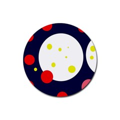 Abstract Moon Rubber Coaster (round)  by Valentinaart