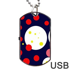 Abstract Moon Dog Tag Usb Flash (one Side) by Valentinaart