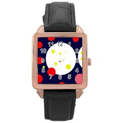 Abstract Moon Rose Gold Leather Watch  by Valentinaart