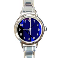 Blue Abstraction Round Italian Charm Watch by Valentinaart