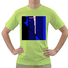 Blue Abstraction Green T-shirt by Valentinaart