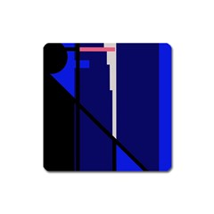 Blue Abstraction Square Magnet by Valentinaart