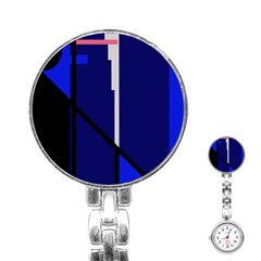 Blue Abstraction Stainless Steel Nurses Watch by Valentinaart