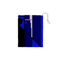 Blue Abstraction Drawstring Pouches (xs)  by Valentinaart