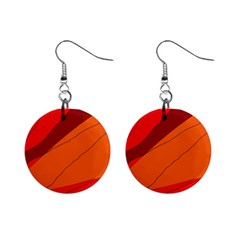 Red And Orange Decorative Abstraction Mini Button Earrings