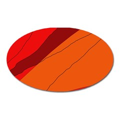Red And Orange Decorative Abstraction Oval Magnet by Valentinaart