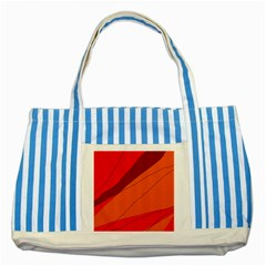 Red And Orange Decorative Abstraction Striped Blue Tote Bag by Valentinaart